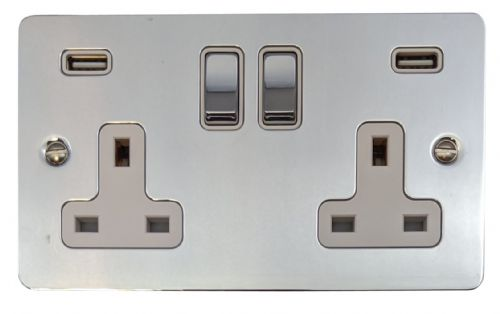 G&H FC2910 Flat Plate Polished Chrome 2 Gang Double 13A Switched Plug Socket 2.1A USB